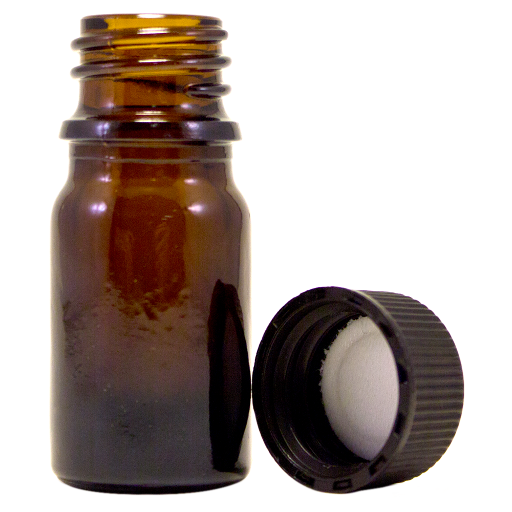 1/6 fl oz (5 ml) Amber Glass Bottle w/ Black Cap