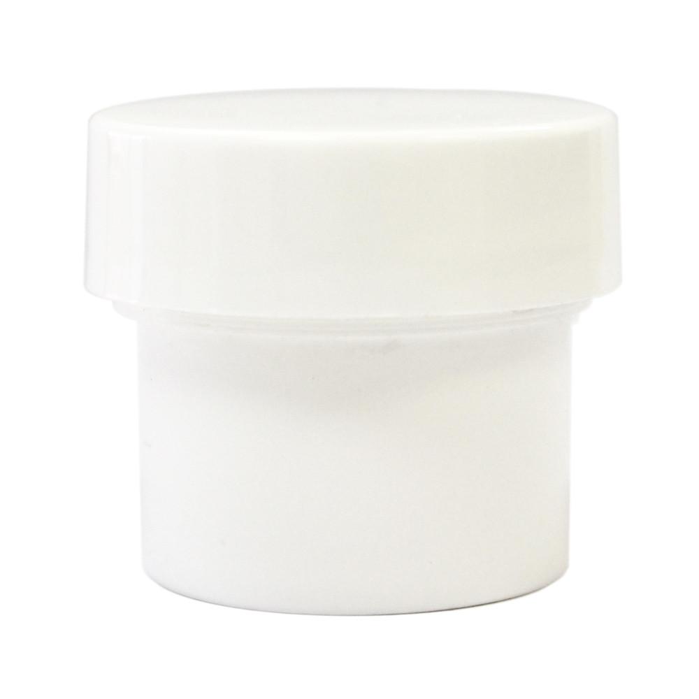1/2 oz White Plastic Jar w/ Flat Lid