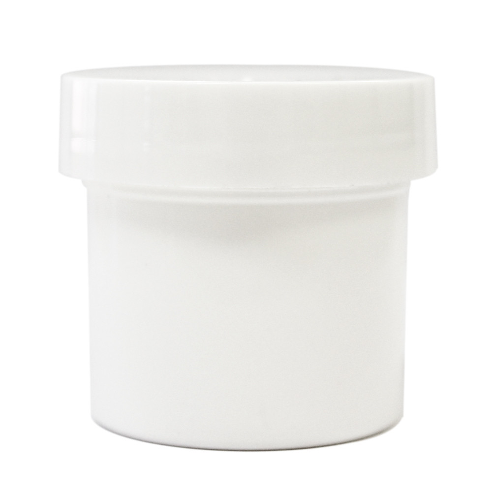 1 oz White Plastic Jar w/ Flat Lid