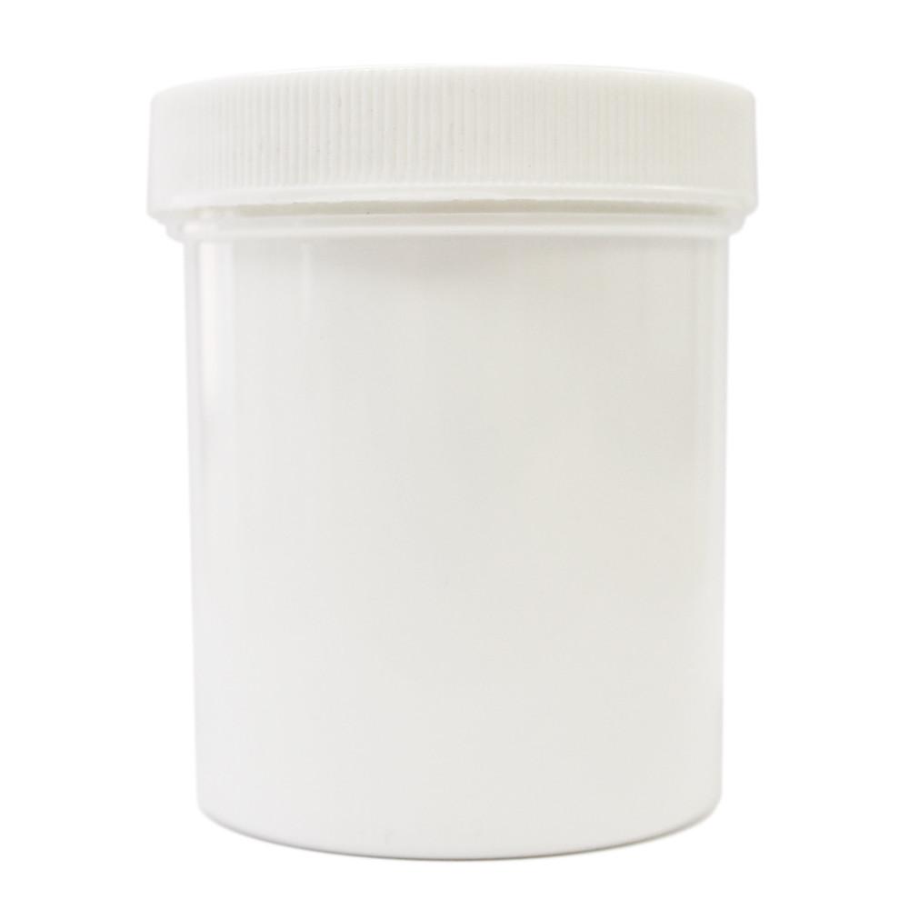 4 oz White Plastic Jar w/ Flat Lid