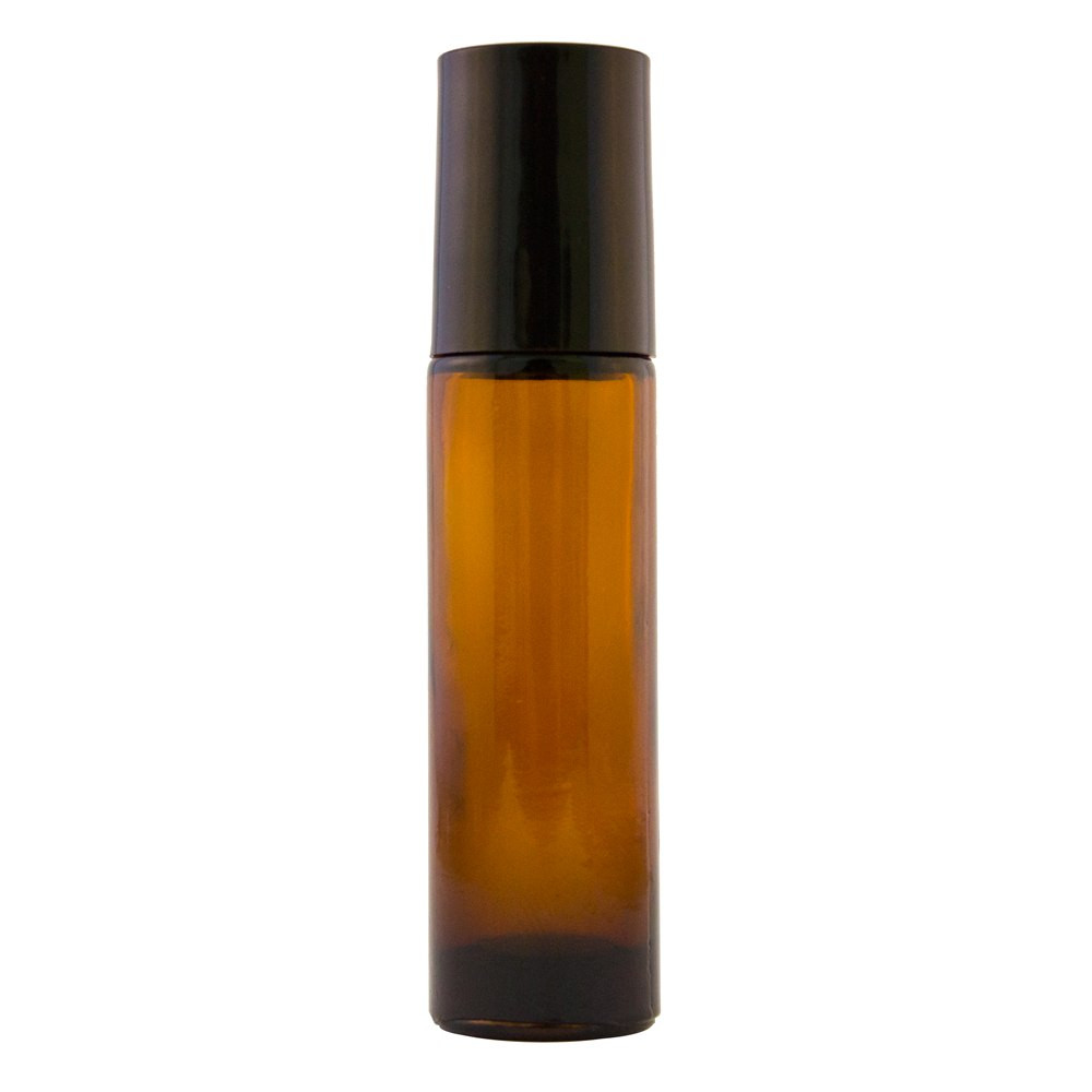 10 ml Amber Roll On Glass Bottle w/ Black Cap