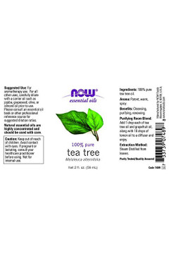 Now Foods Tea Tree oil 2oz 100% pure essential oil - Label