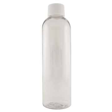 4 fl oz Clear Plastic Bottle w/ White Cap