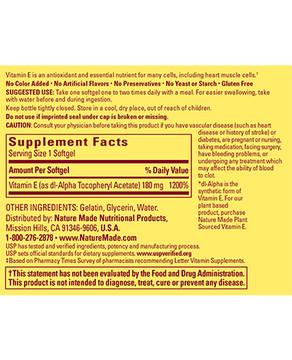 E (Vitamin E) 400 IU, 100 Liquid Softgels - Nature Made