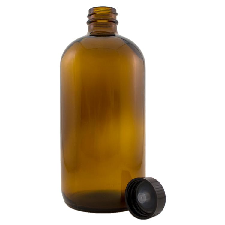 16 fl oz Amber Glass Bottle w/ Phenolic Cap