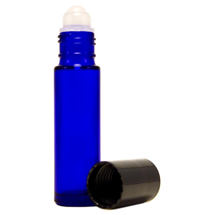 10 ml Cobalt Blue Roll On Glass Bottle w/ Black Cap