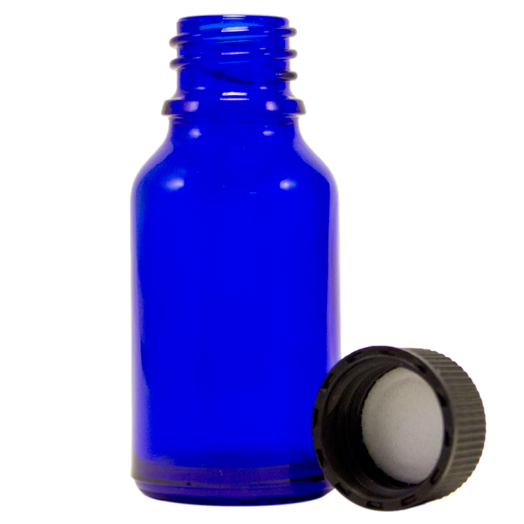 1/2 fl oz (15 ml) Cobalt Blue Glass Bottle w/ Black Cap
