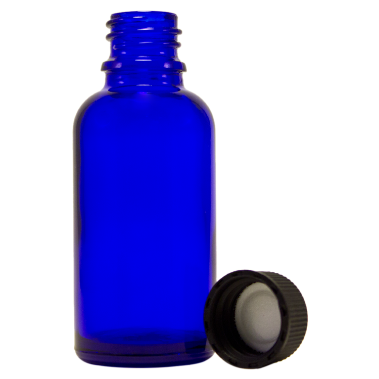 1 fl oz (30 ml) Cobalt Blue Glass Bottle w/ Black Cap