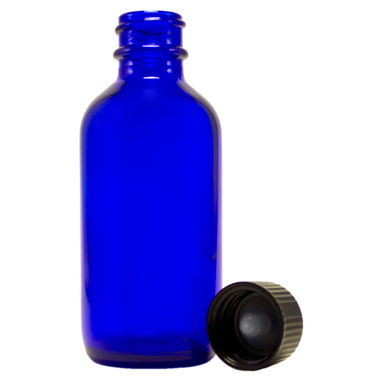 2 fl oz Cobalt Blue Glass Bottle w/ Black Cap