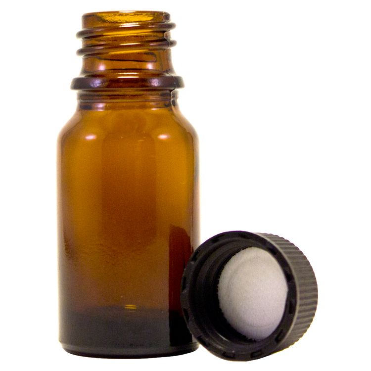 1/3 fl oz (10 ml) Amber Glass Bottle w/ Black Cap