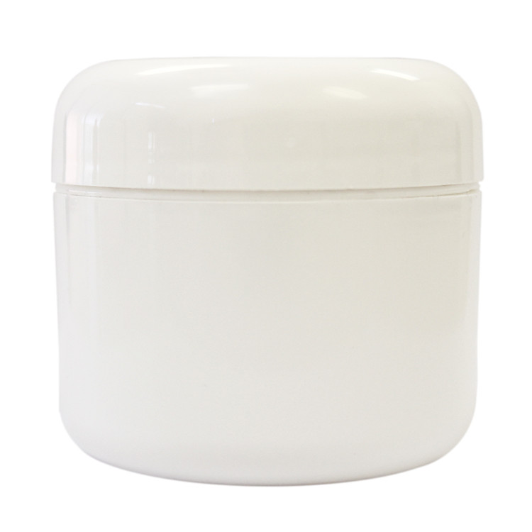 2 oz White Plastic Jar w/ Dome Lid
