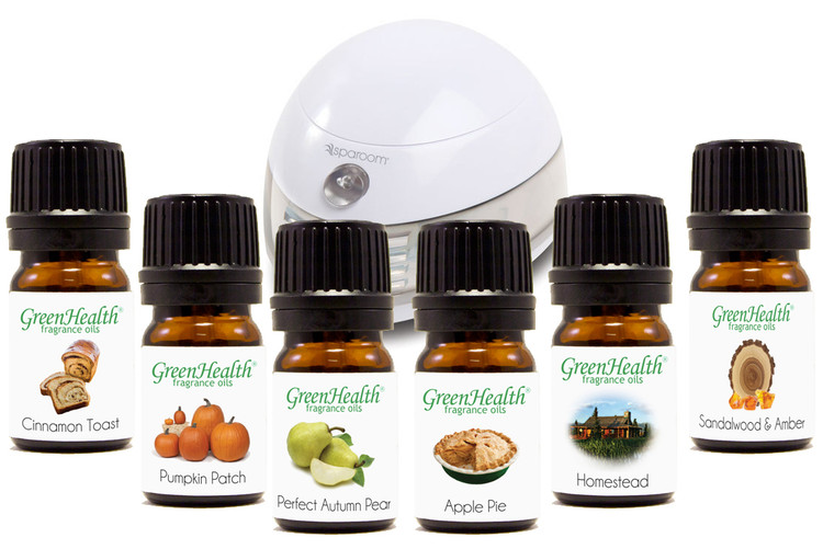 Fall Fragrance Set.  Gift Set. Holiday Gifts.  5ml fragrance  oils.  Cinnamon Toast, Pumpkin Patch, Perfect Autumn Pear, Apple Pie, Homestead, Sandalwood & Amber.  Sparoom.  Diffuser.  Aromatherapy. Fragrant therapy