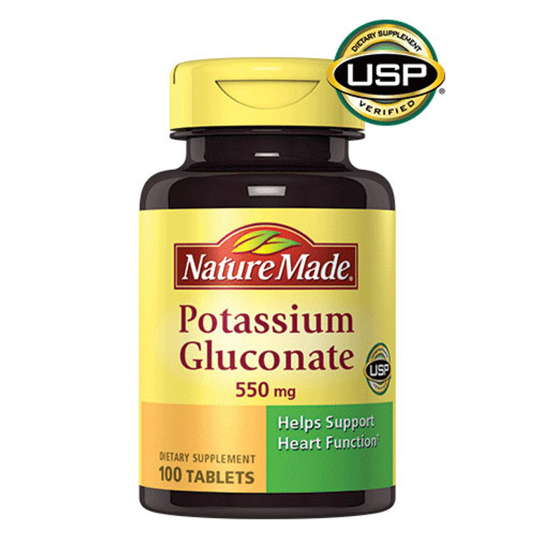Potassium Gluconate, 550 mg, 100 Tablets - Nature Made