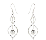Sterling silver twist earrings with suspended bead detail