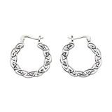 Heritage Sterling Silver Celtic Full Hoop Earrings with oxidised knotwork detail