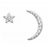 Image of Dew Sterling Silver CZ Star & Crescent stud earrings