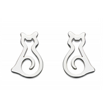 Image of Dew Sterling Silver Cat stud earrings