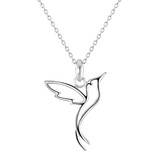 Image of Dew Sterling Silver Hummingbird pendant necklace