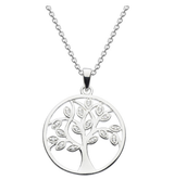 Image of Dew Sterling Silver Tree of Life Pendant Necklace with white cubic zirconia