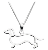 Image of Dew Sterling Silver cut-out Dachshund Pendant Necklace
