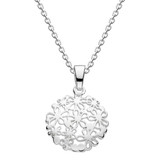 Image of Dew Sterling Silver Circular Floral pendant necklace