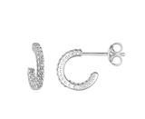 Image of Dew Sterling Silver Half Huggy Hoop Stud Earrings with Cubic Zirconia