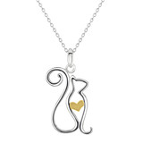 Image of Dew Sterling Silver Cat Pendant Necklace with Gold Plate heart detail