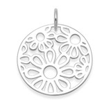 Image of Heather Needham Silver Circular Pendant with cut-out flower design (no chain shown)