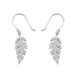Image of Blueberry Sterling Silver micro-set CZ Leaf Earrings