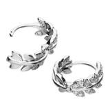 Image of Blueberry Sterling Silver CZ Leaf Huggy Hoop Earrings