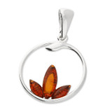Image of Blueberry Sterling Silver Amber Lotus Flower Pendant (no chain pictured)