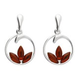 Image of Blueberry Sterling Silver Amber Lotus Flower Stud Earrings