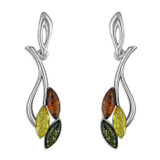 Image of Blueberry Sterling Silver Mixed Amber Leaves Stud Earrings, with pale yellow, green and cognac amber