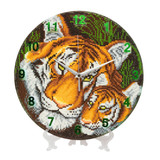 Image of completed Mother Tiger and Cub Crystal Art Clock