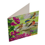 Side view image of completed Craft Buddy Garden Birds Crystal Art card