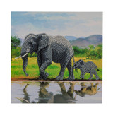 Image of completed Craft Buddy Elephants Crystal Art card