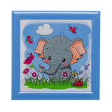 Image of completed Elephant Frameable crystal art kit design
