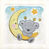Image of completed Teddy on Moon Frameable crystal art kit design