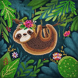Image of completed Craft Buddy Sloth Crystal Art card