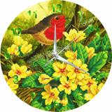 Image of completed Craft Buddy Summer Robin crystal art clock kit design