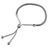 Sterling silver popcorn bracelet with slider adjuster toggle
