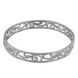 Sterling silver bangle  with filigree swirl design