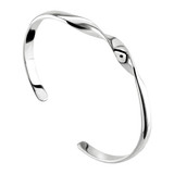 Dew Sterling Silver Twist Torque Bangle