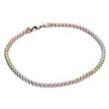 Sterling silver tennis bracelet with rainbow cz stones