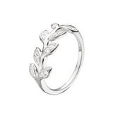 Dew Sterling Silver CZ Leaf Ring