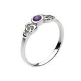 Kalin Celtic Small Round Amethyst Ring