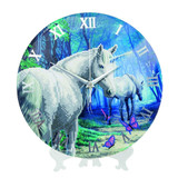 Image of completed Craft Buddy The Journey Home Unicorns crystal art clock kit design