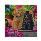 Image of completed Craft Buddy Cat Friends Crystal Art card