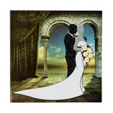 Image of completed Craft Buddy Wedding Couple Crystal Art card