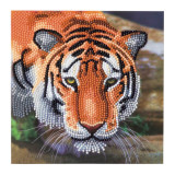 Image of completed Craft Buddy Tiger Crystal Art card